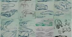 자동차 색연필 랜더링 스케치